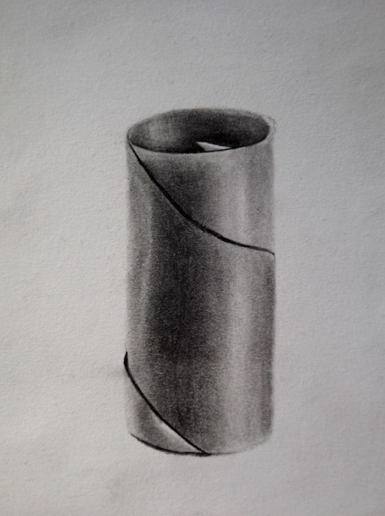 charcoal artistic drawing of a cylinder toiler roll paper cardboard